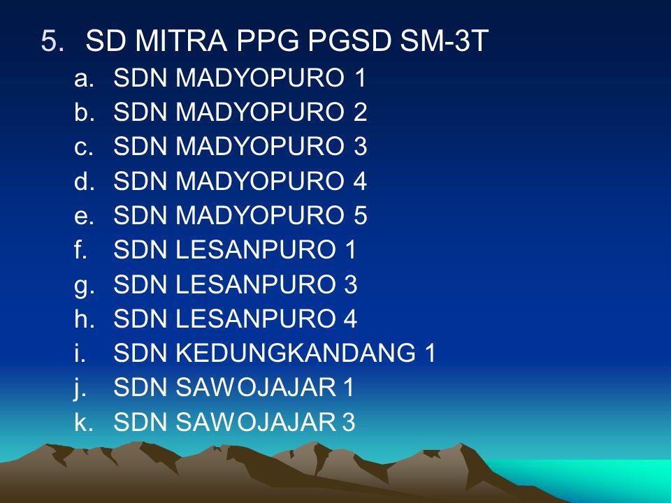 SD MITRA PPG PGSD SM-3T SDN MADYOPURO 1 SDN MADYOPURO 2