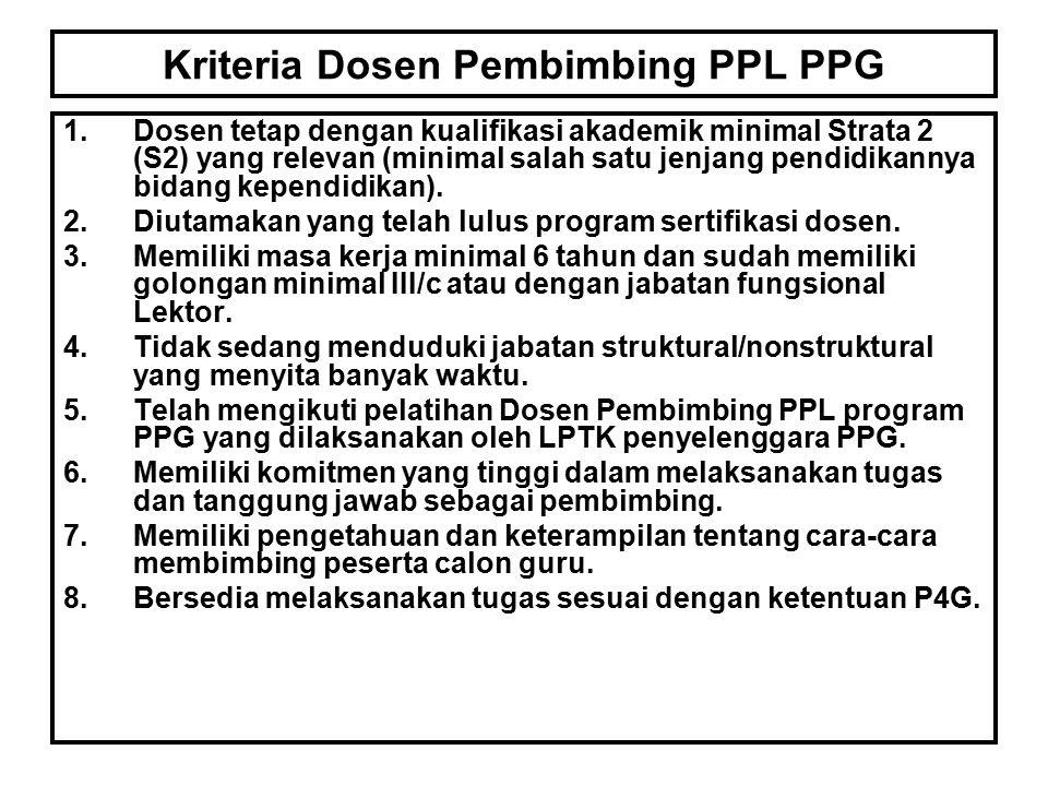 Kriteria Dosen Pembimbing PPL PPG