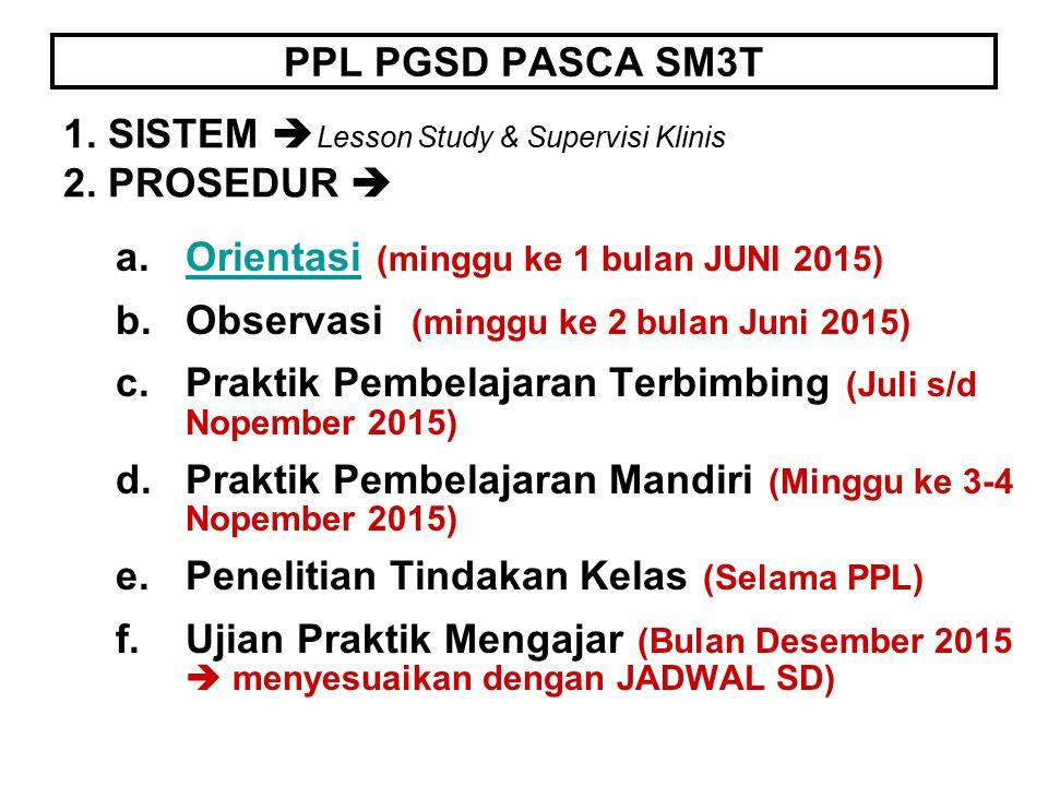 PPL PGSD PASCA SM3T 1. SISTEM Lesson Study & Supervisi Klinis 2. PROSEDUR  Orientasi (minggu ke 1 bulan JUNI 2015)