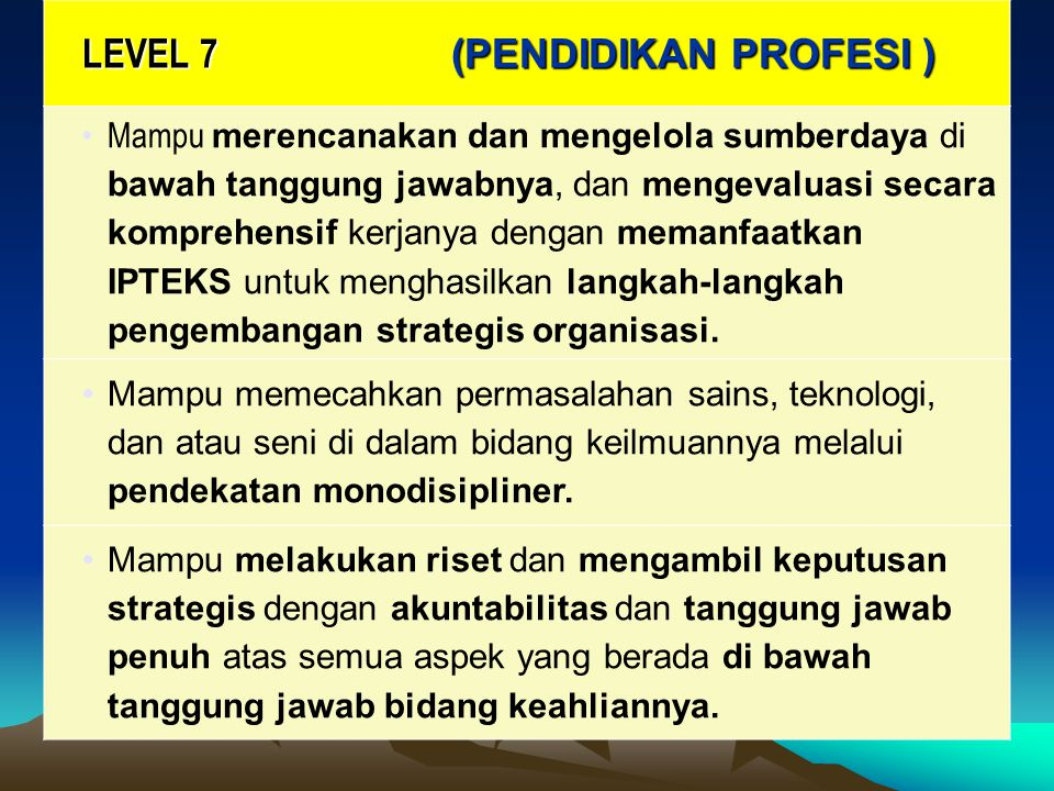 LEVEL 7 (PENDIDIKAN PROFESI )