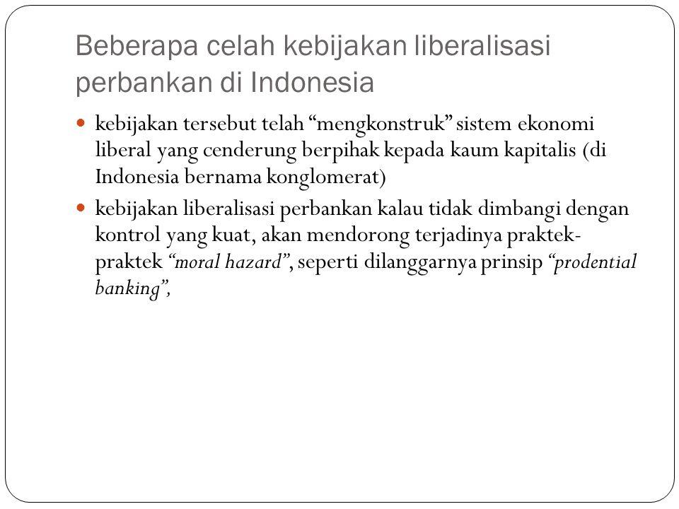 Beberapa celah kebijakan liberalisasi perbankan di Indonesia