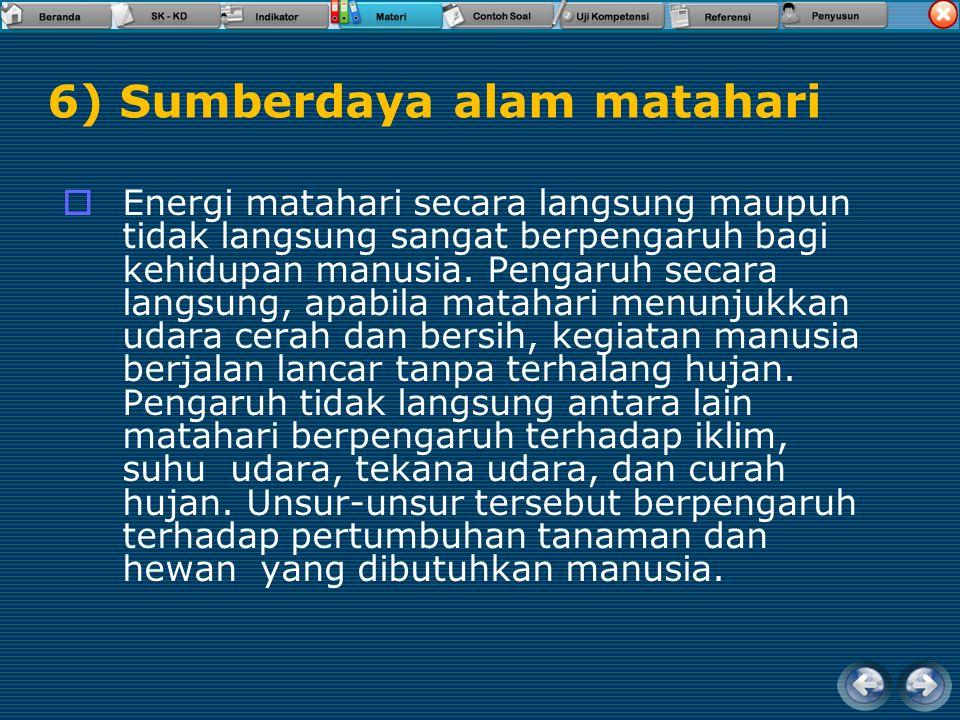 6) Sumberdaya alam matahari