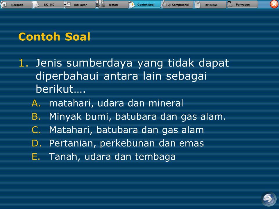 Contoh Soal Jenis sumberdaya yang tidak dapat diperbahaui antara lain sebagai berikut…. matahari, udara dan mineral.
