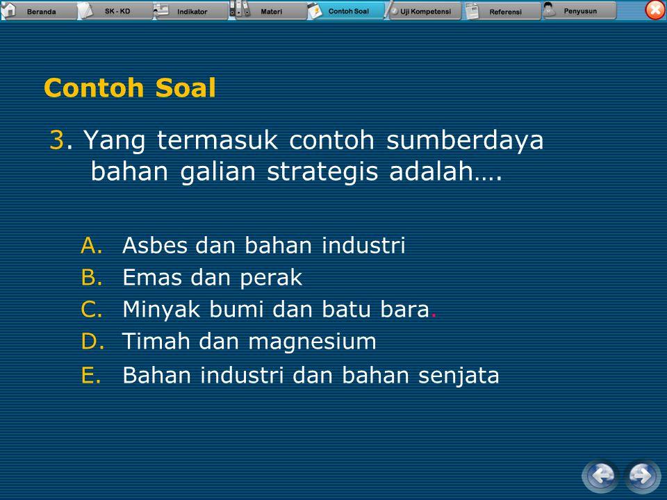 3. Yang termasuk contoh sumberdaya bahan galian strategis adalah….