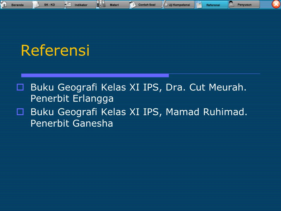 Referensi Buku Geografi Kelas XI IPS, Dra. Cut Meurah.