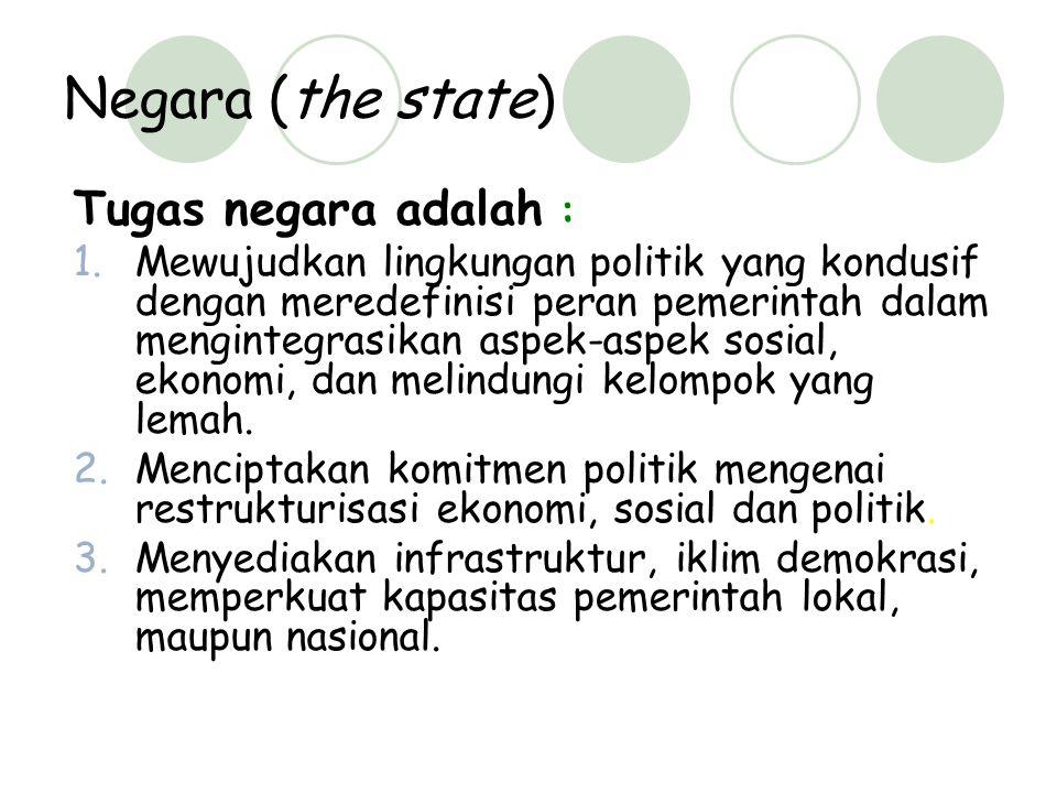Negara (the state) Tugas negara adalah :