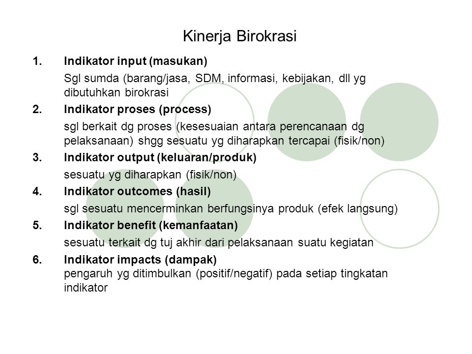 Kinerja Birokrasi Indikator input (masukan)