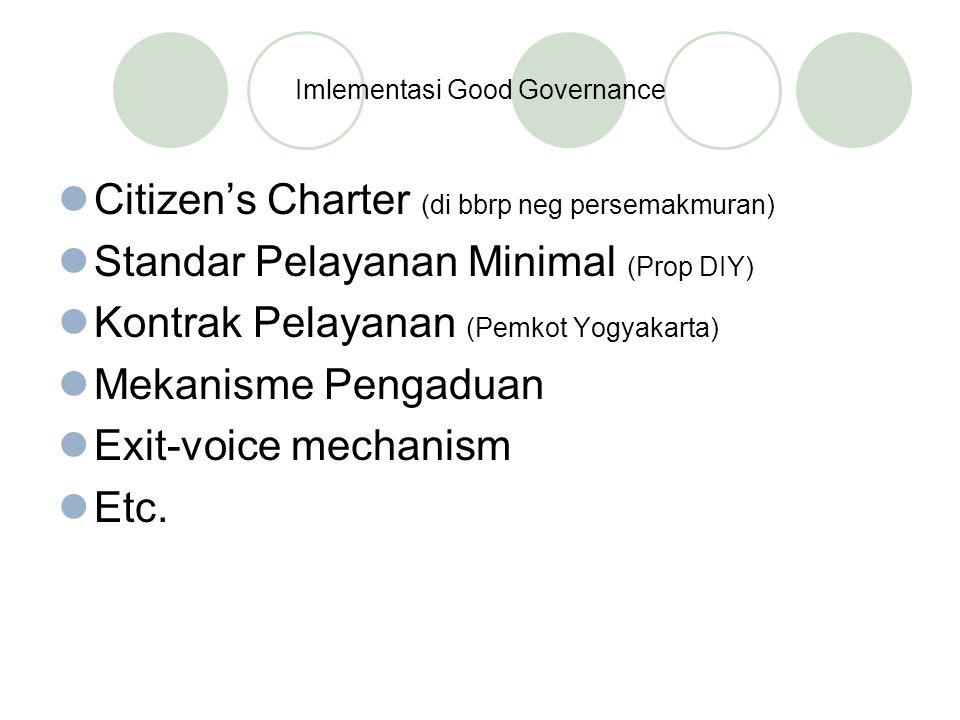 Imlementasi Good Governance