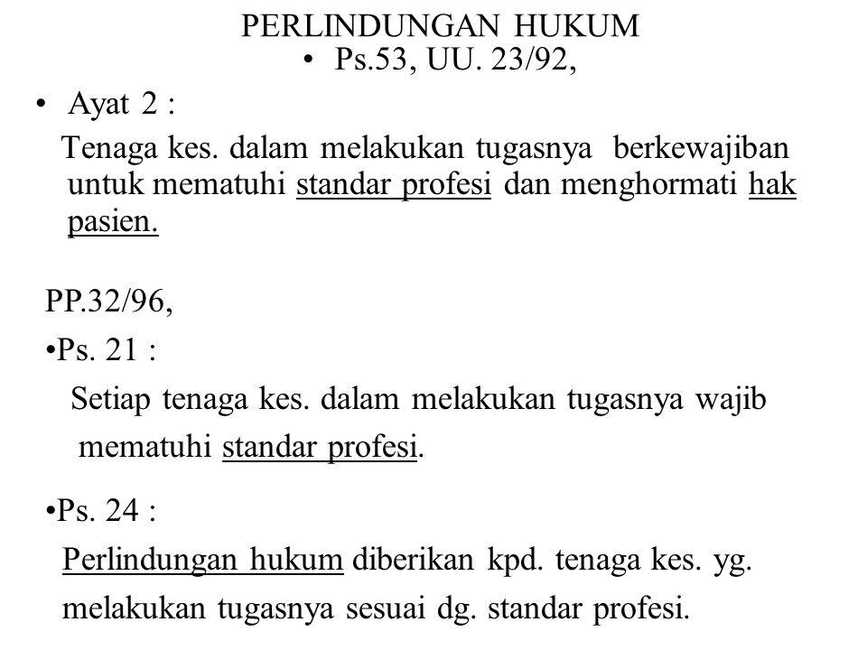 PERLINDUNGAN HUKUM Ps.53, UU. 23/92, Ayat 2 :