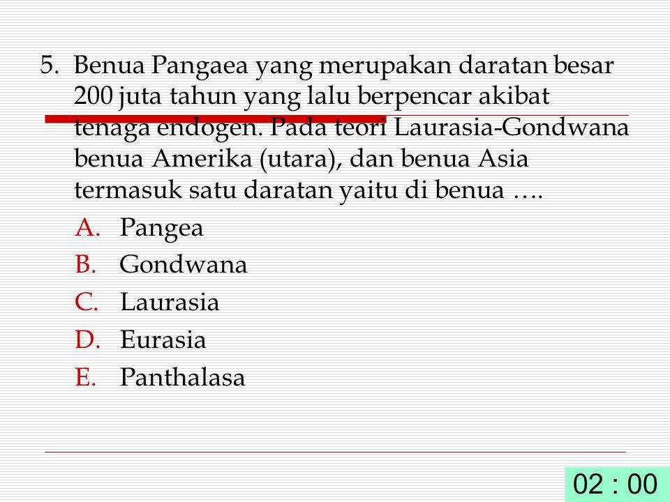 5. Benua Pangaea yang merupakan daratan besar 200 juta tahun yang lalu berpencar akibat tenaga endogen. Pada teori Laurasia-Gondwana benua Amerika (utara), dan benua Asia termasuk satu daratan yaitu di benua ….