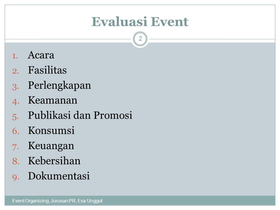 Evaluasi Event Acara Fasilitas Perlengkapan Keamanan