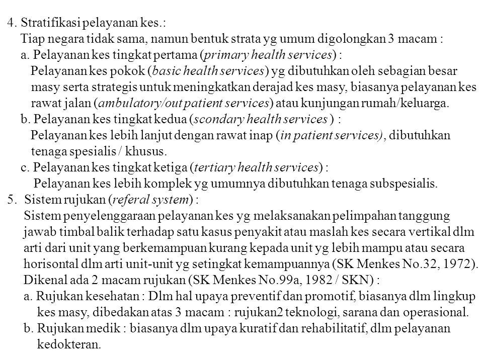 4. Stratifikasi pelayanan kes.: