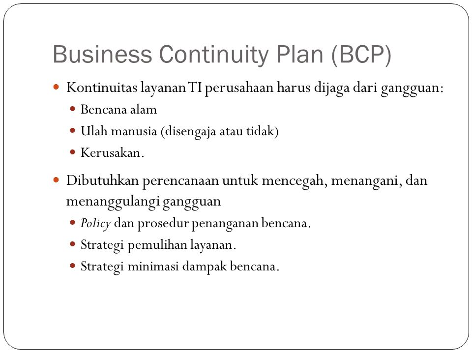 Business Continuity Plan (BCP)