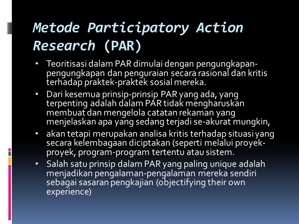 Metode Participatory Action Research (PAR)