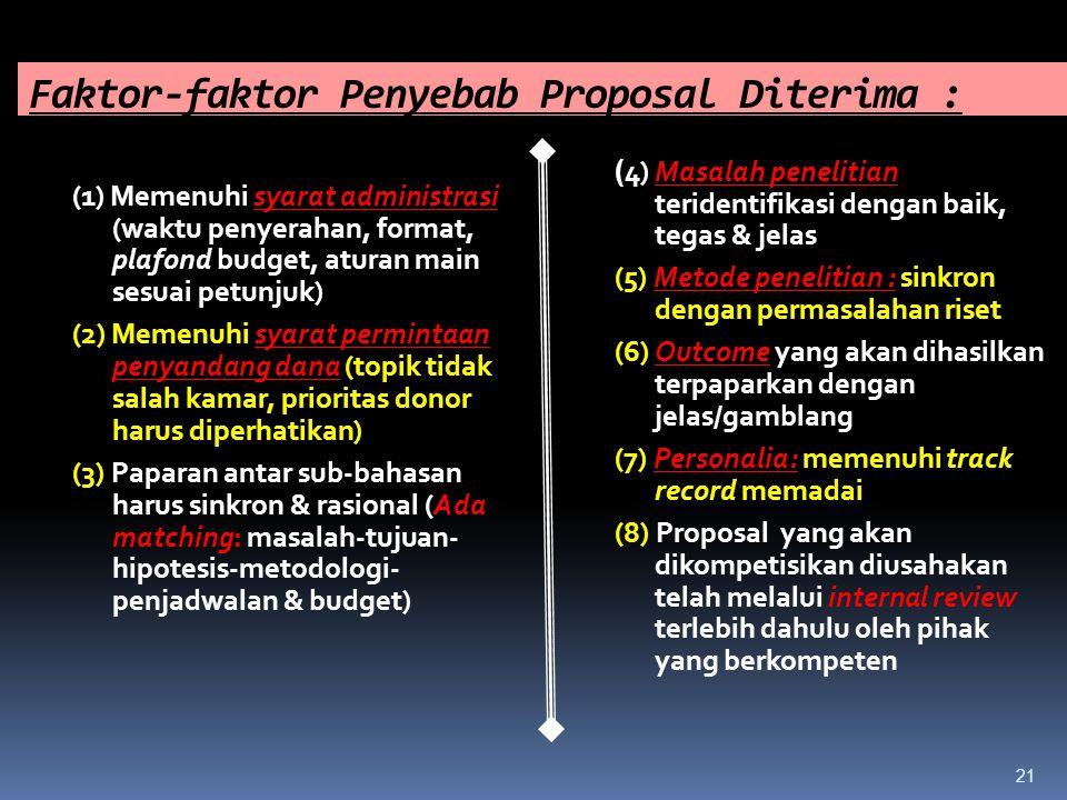 Faktor-faktor Penyebab Proposal Diterima :