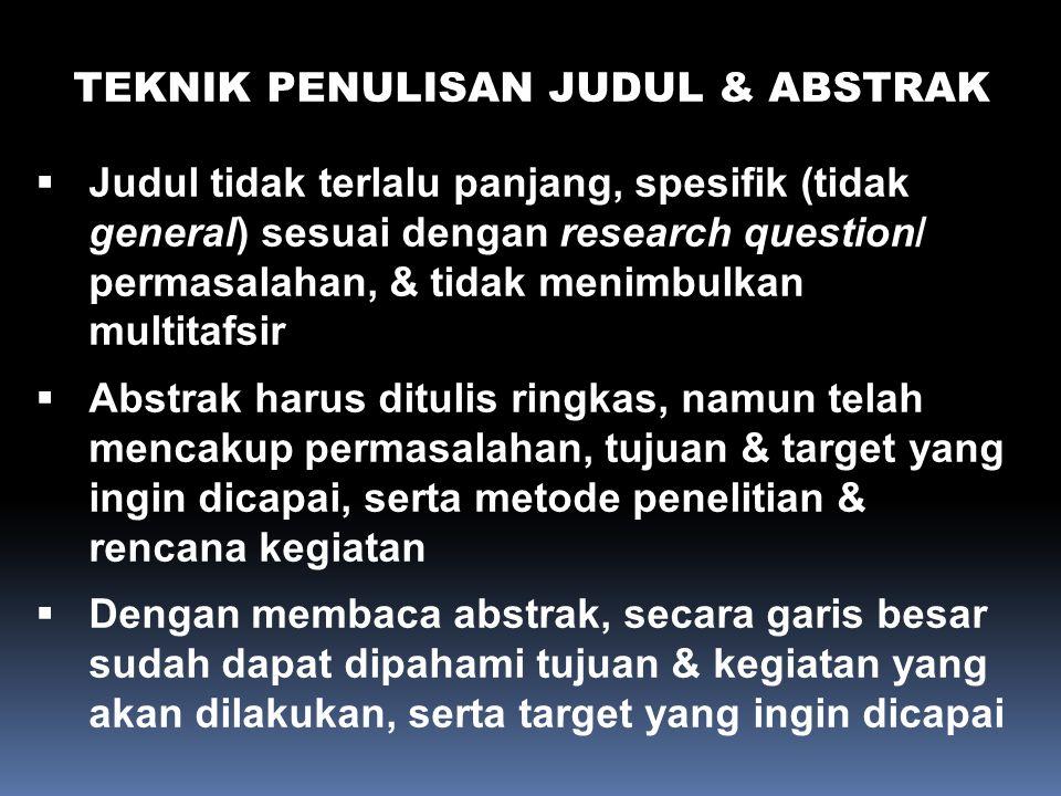 TEKNIK PENULISAN JUDUL & ABSTRAK