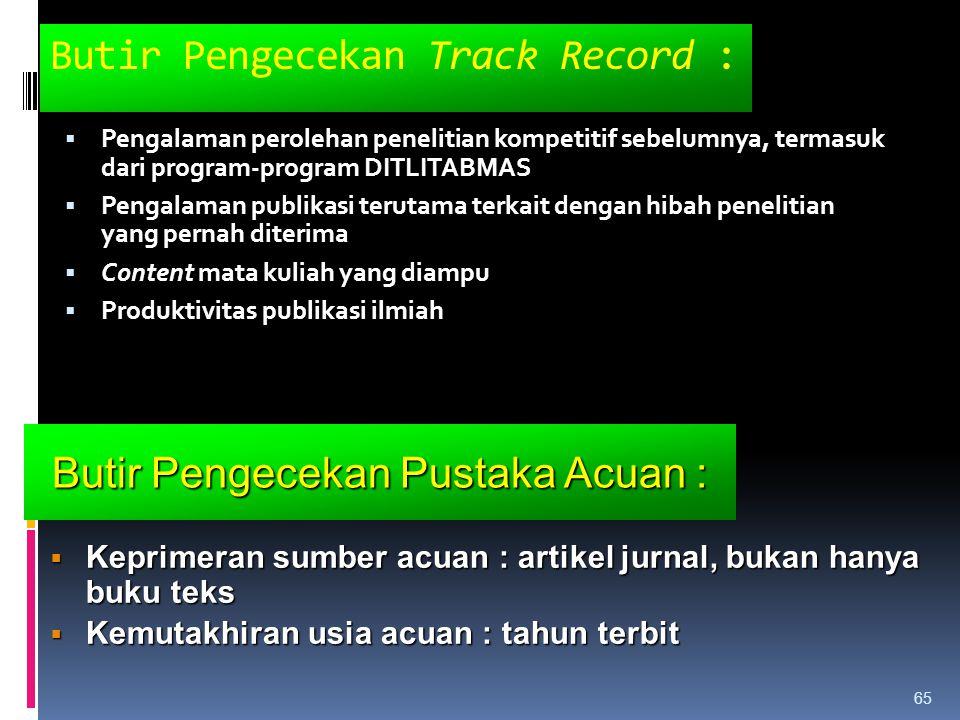 Butir Pengecekan Track Record :