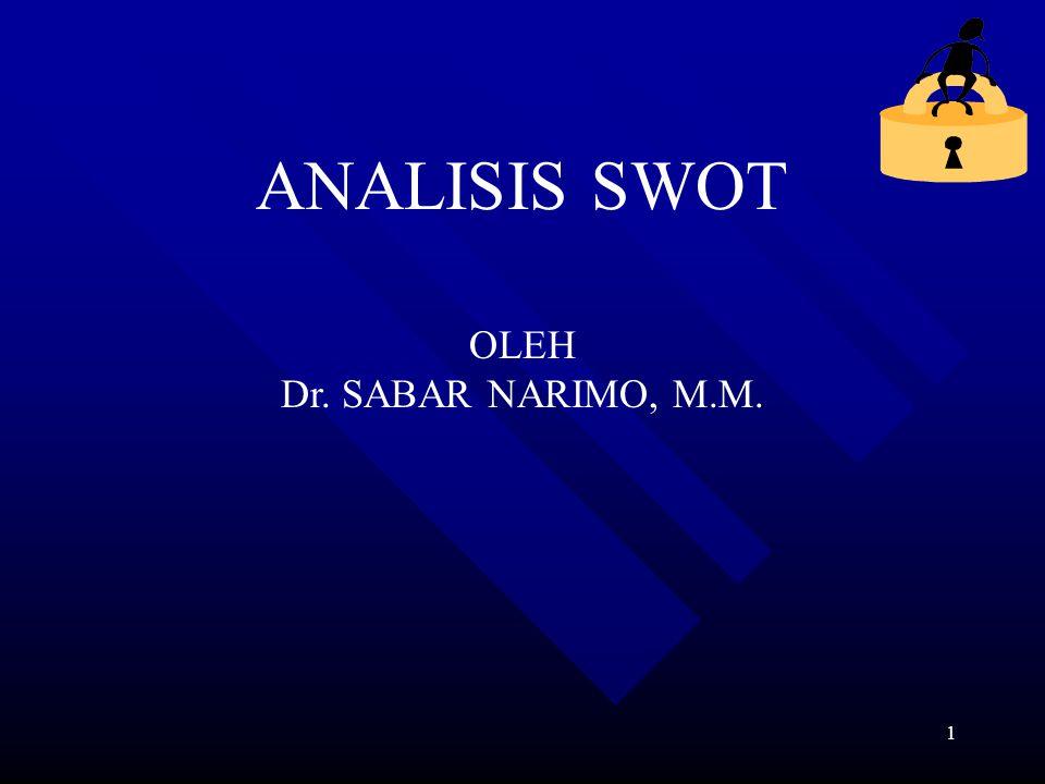 ANALISIS SWOT OLEH Dr. SABAR NARIMO, M.M.