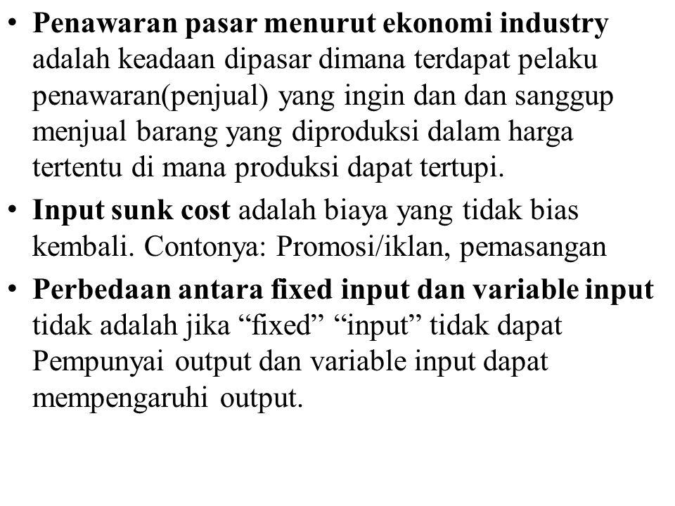 Penawaran pasar menurut ekonomi industry adalah keadaan dipasar dimana terdapat pelaku penawaran(penjual) yang ingin dan dan sanggup menjual barang yang diproduksi dalam harga tertentu di mana produksi dapat tertupi.