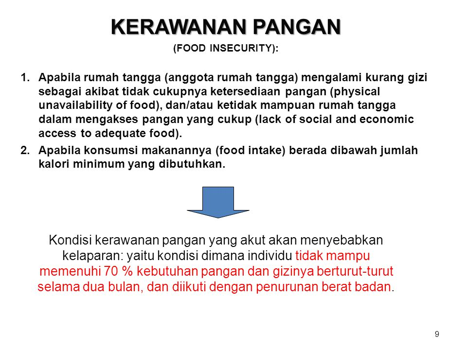 KERAWANAN PANGAN (FOOD INSECURITY):
