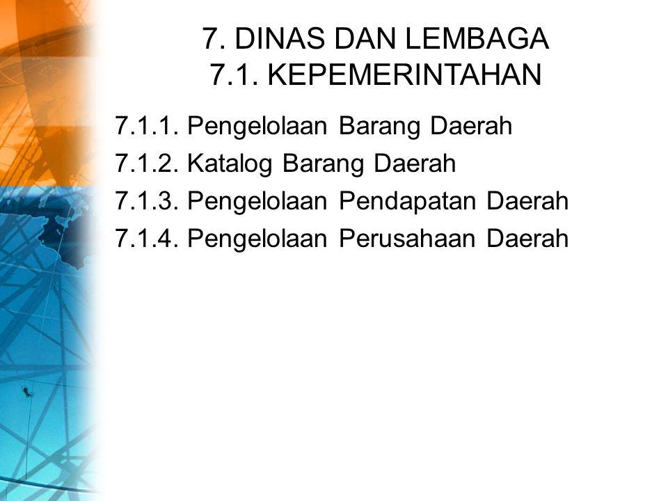 7. DINAS DAN LEMBAGA 7.1. KEPEMERINTAHAN