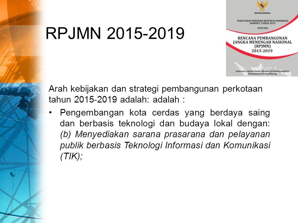 RPJMN 2015-2019 Arah kebijakan dan strategi pembangunan perkotaan tahun 2015-2019 adalah: adalah :