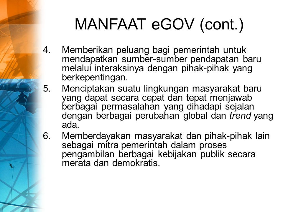 MANFAAT eGOV (cont.)