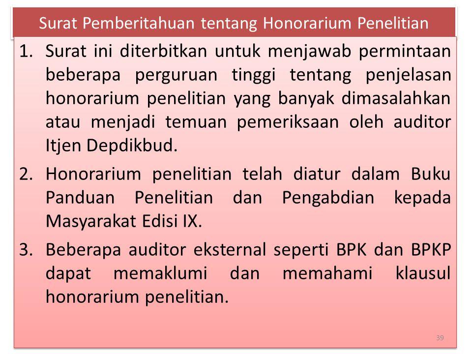Surat Pemberitahuan tentang Honorarium Penelitian