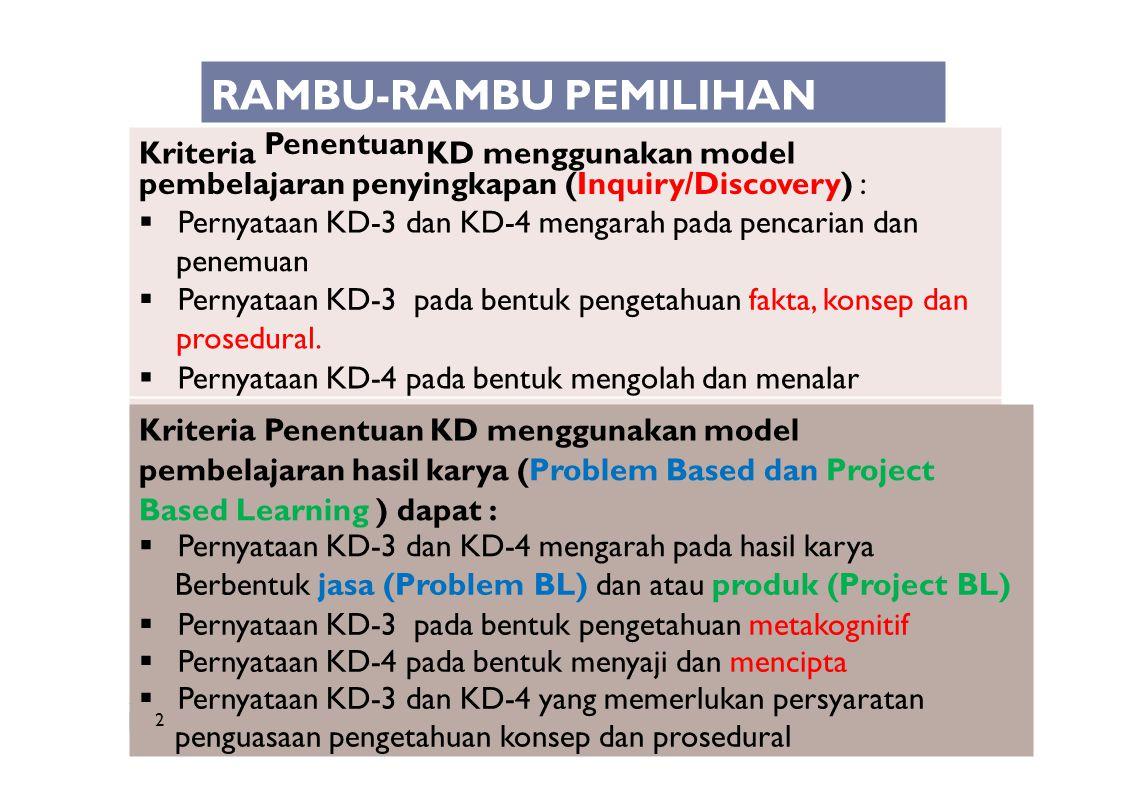 Kriteria KD menggunakan model Penentuan