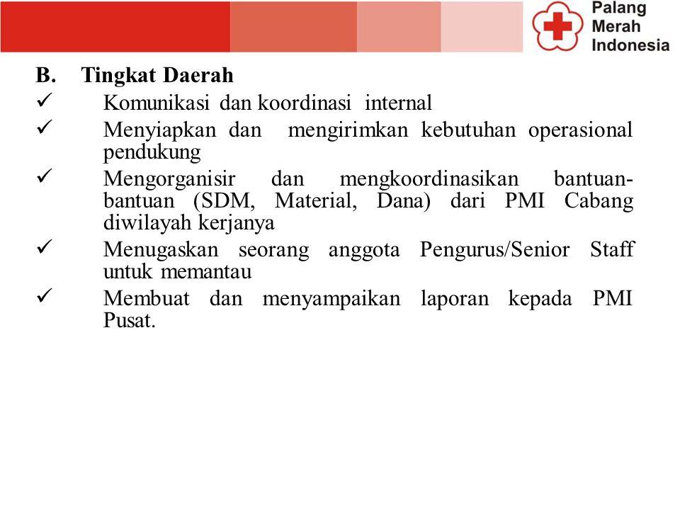 B. Tingkat Daerah Komunikasi dan koordinasi internal. Menyiapkan dan mengirimkan kebutuhan operasional pendukung.