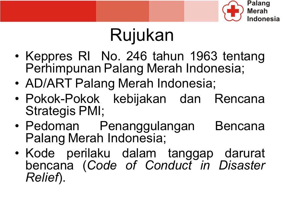 Rujukan Keppres RI No. 246 tahun 1963 tentang Perhimpunan Palang Merah Indonesia; AD/ART Palang Merah Indonesia;