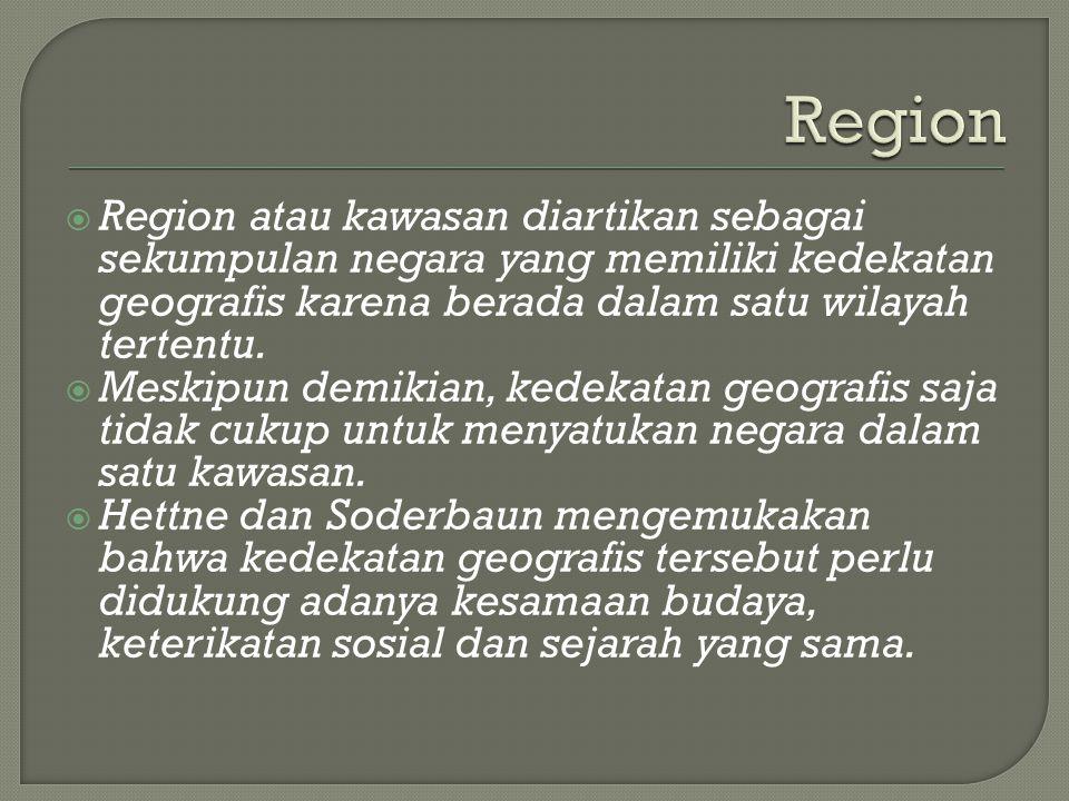 Region Region atau kawasan diartikan sebagai sekumpulan negara yang memiliki kedekatan geografis karena berada dalam satu wilayah tertentu.