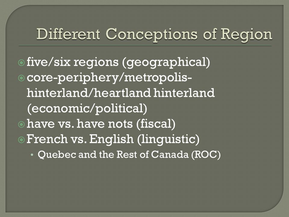 Different Conceptions of Region