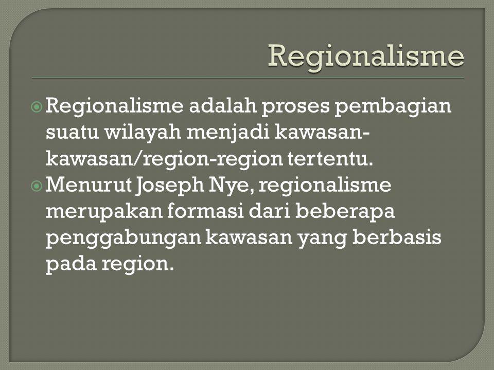 Regionalisme Regionalisme adalah proses pembagian suatu wilayah menjadi kawasan-kawasan/region-region tertentu.