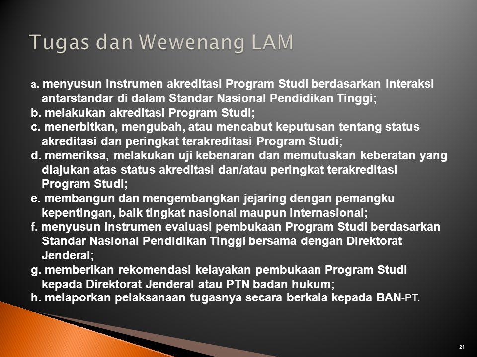 Tugas dan Wewenang LAM b. melakukan akreditasi Program Studi;