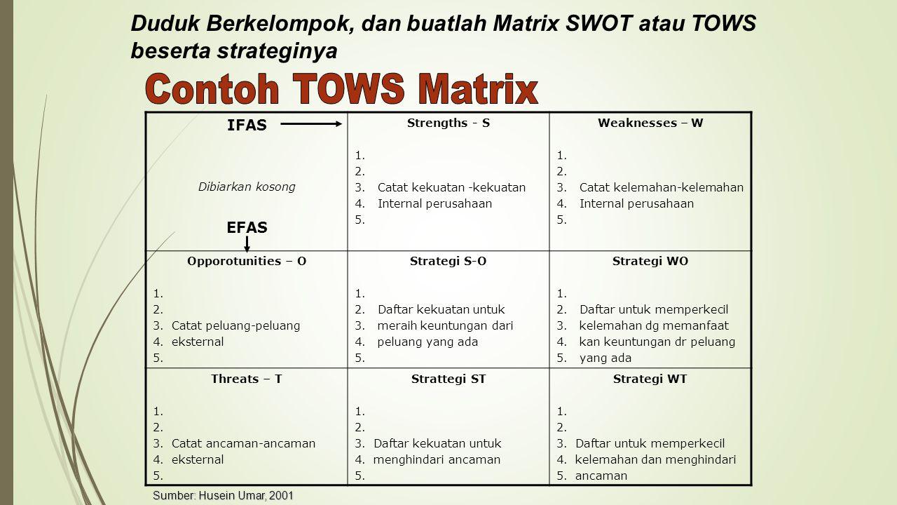 Duduk Berkelompok, dan buatlah Matrix SWOT atau TOWS beserta strateginya