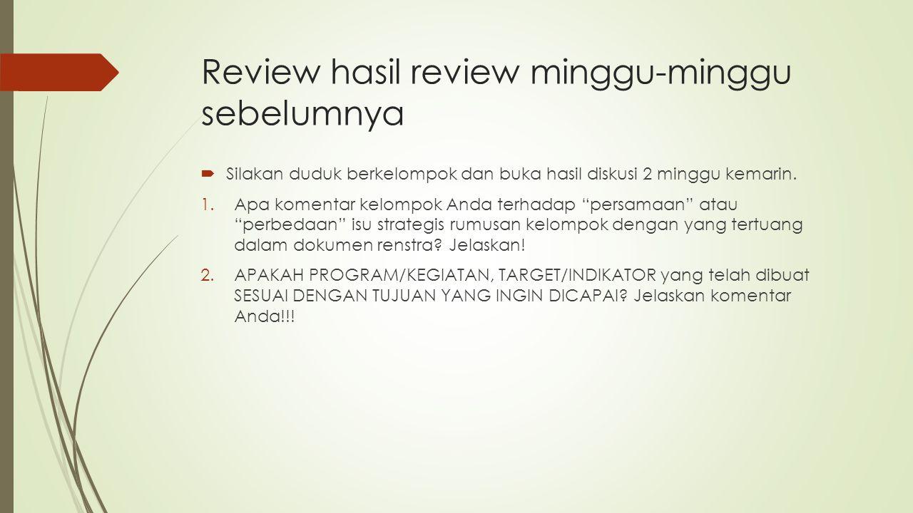 Review hasil review minggu-minggu sebelumnya