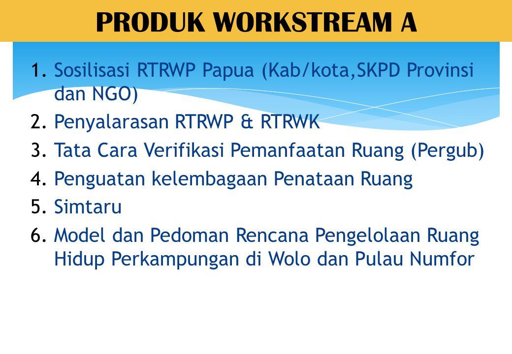 PRODUK WORKSTREAM A Sosilisasi RTRWP Papua (Kab/kota,SKPD Provinsi dan NGO) Penyalarasan RTRWP & RTRWK.