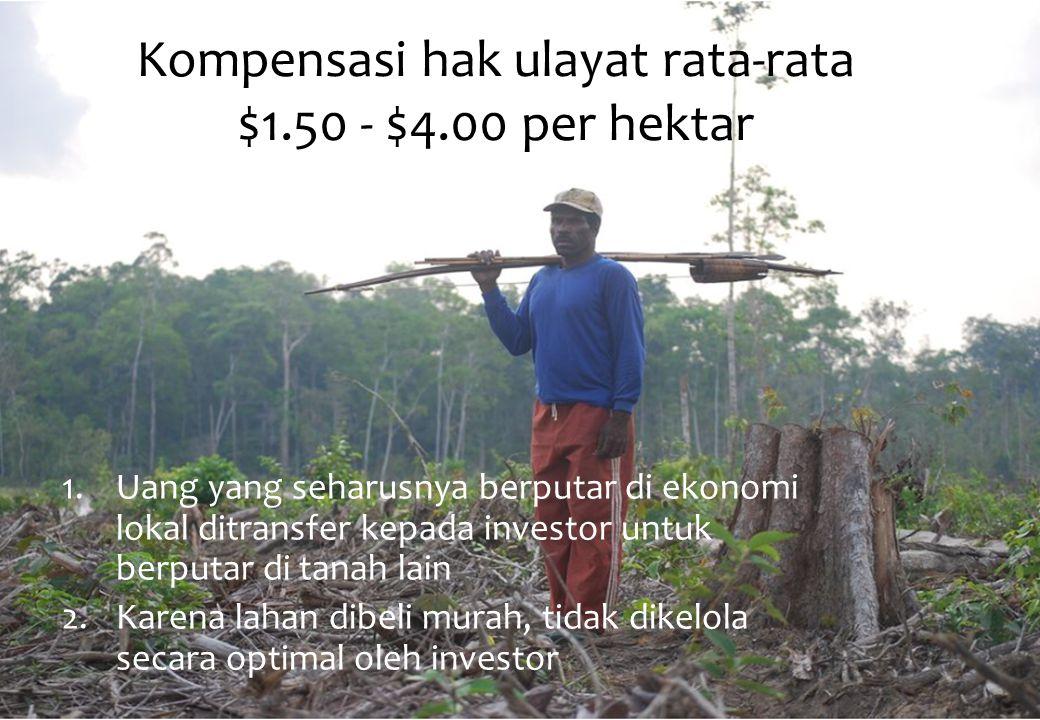 Kompensasi hak ulayat rata-rata $1.50 - $4.00 per hektar