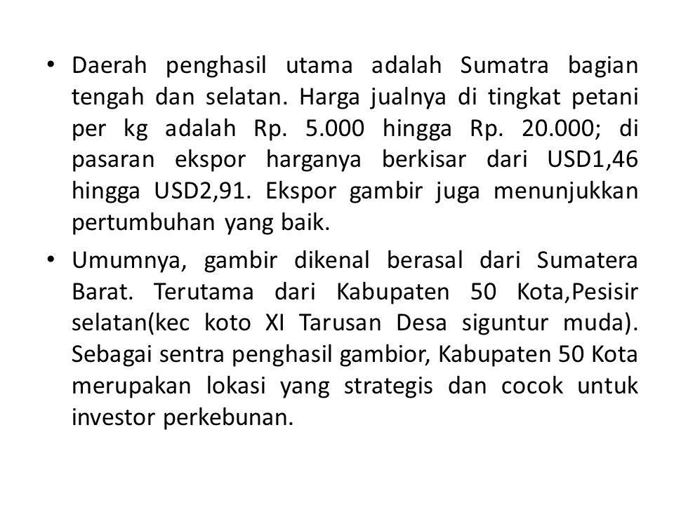 Daerah penghasil utama adalah Sumatra bagian tengah dan selatan