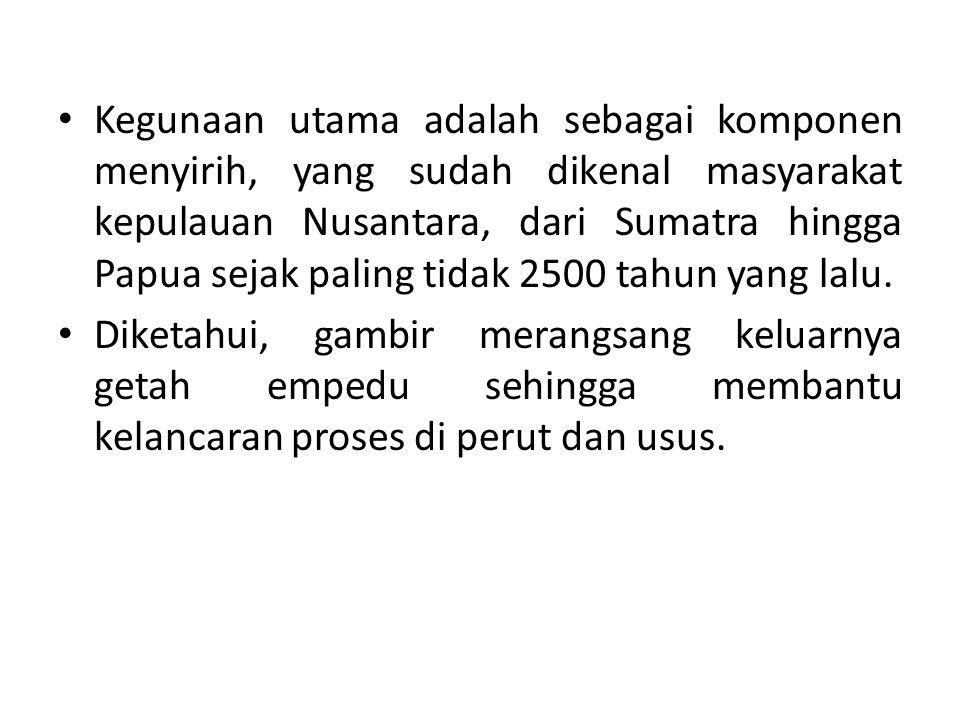 Kegunaan utama adalah sebagai komponen menyirih, yang sudah dikenal masyarakat kepulauan Nusantara, dari Sumatra hingga Papua sejak paling tidak 2500 tahun yang lalu.