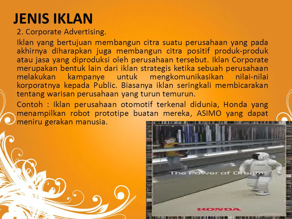 JENIS iklan 2. Corporate Advertising.