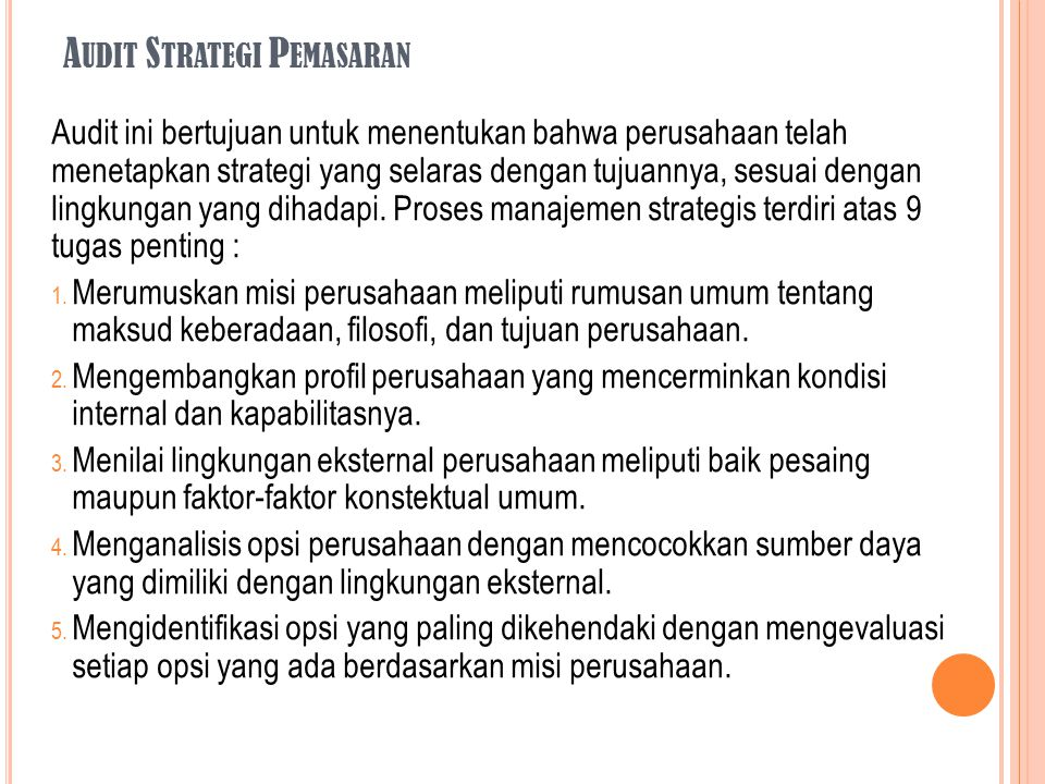 Audit Strategi Pemasaran