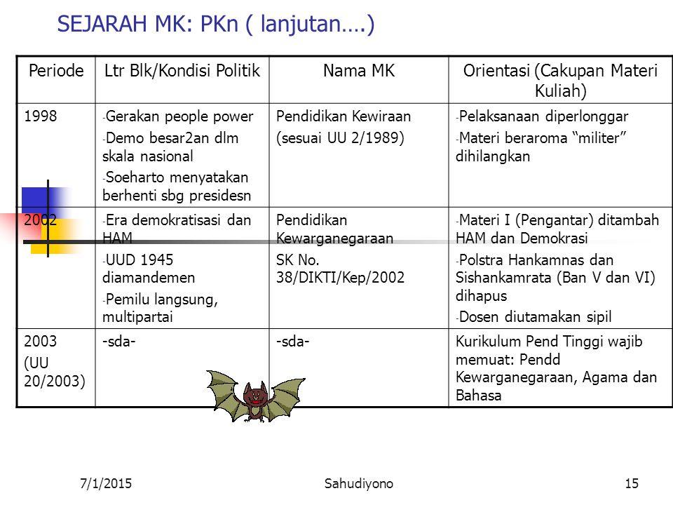SEJARAH MK: PKn ( lanjutan….)