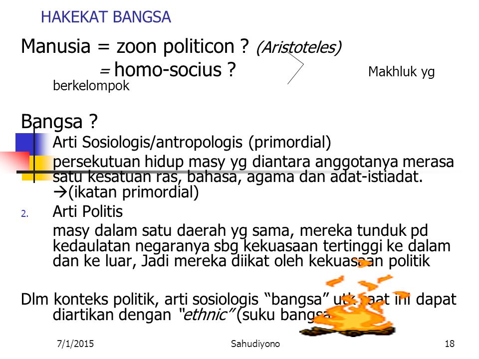 Manusia = zoon politicon (Aristoteles)