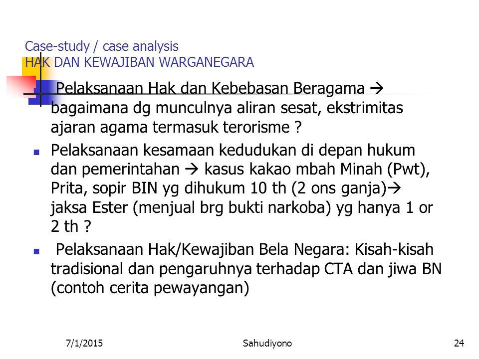 Case-study / case analysis HAK DAN KEWAJIBAN WARGANEGARA