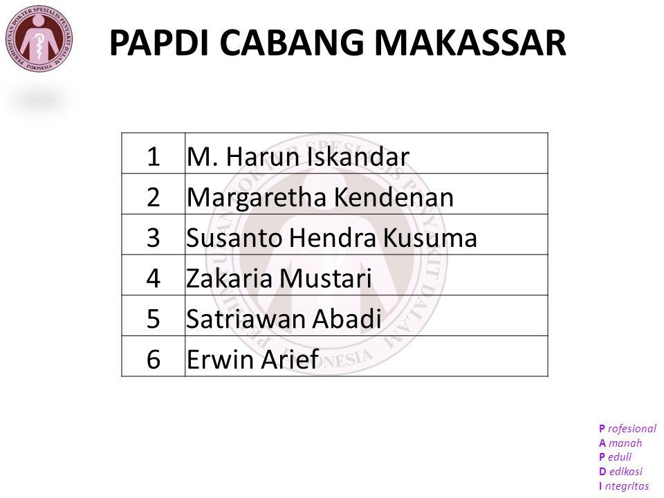 PAPDI CABANG MAKASSAR 1 M. Harun Iskandar 2 Margaretha Kendenan 3