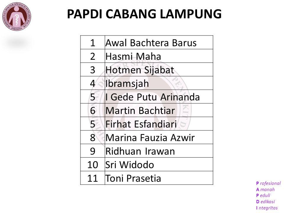 PAPDI CABANG LAMPUNG 1 Awal Bachtera Barus 2 Hasmi Maha 3