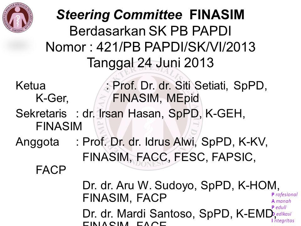 Steering Committee FINASIM Berdasarkan SK PB PAPDI Nomor : 421/PB PAPDI/SK/VI/2013 Tanggal 24 Juni 2013