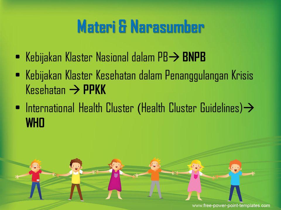 Materi & Narasumber Kebijakan Klaster Nasional dalam PB BNPB